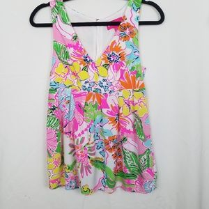 Lilly Pultizer - Floral V-neck Tropical Tank XS